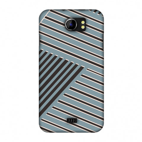 Zig Zag Stripes - Steel Grey And Brown Slim Hard Shell Case For Micromax Canvas 2 A110