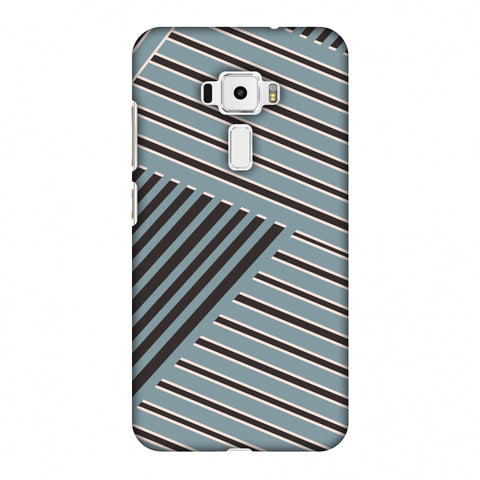 Zig Zag Stripes - Steel Grey And Brown Slim Hard Shell Case For Asus Zenfone 3 ZE520KL