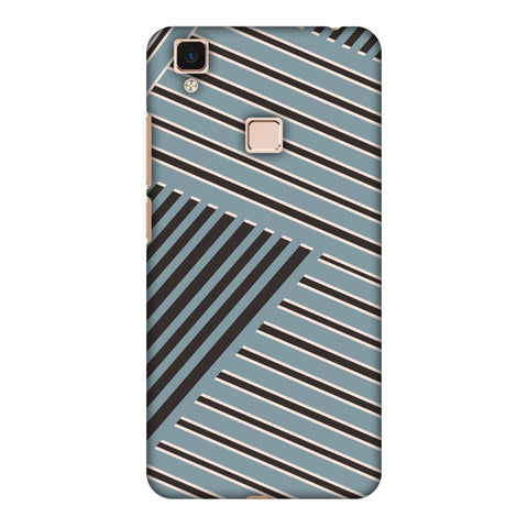 Zig Zag Stripes - Steel Grey And Brown Slim Hard Shell Case For Vivo V3 Max