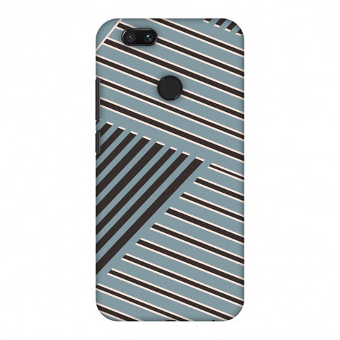 Zig Zag Stripes - Steel Grey And Brown Slim Hard Shell Case For Xiaomi MI A1-5X