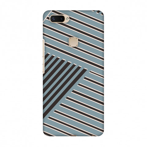 Zig Zag Stripes - Steel Grey And Brown Slim Hard Shell Case For Vivo X20 Plus