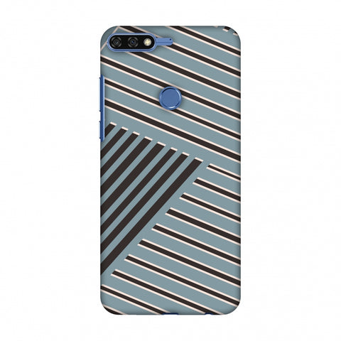 Zig Zag Stripes - Steel Grey And Brown Slim Hard Shell Case For Huawei Honor 7C