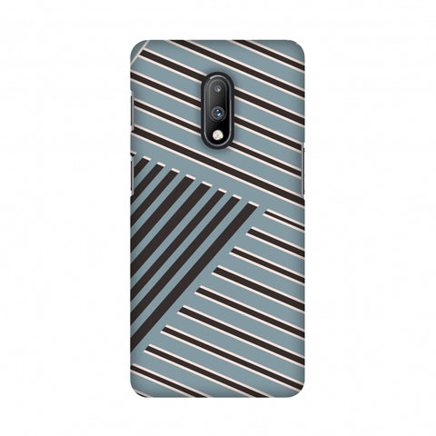 Zig Zag stripes- Steel grey and brown Slim Hard Shell Case For OnePlus 7