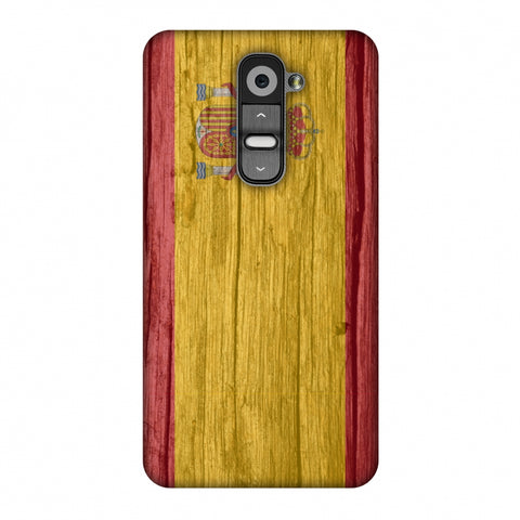 Spain Flag - Wood Textures Slim Hard Shell Case For LG G2 D802