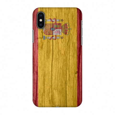 Spain Flag - Wood Textures Slim Hard Shell Case For Apple iPhone X