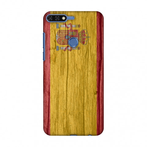 Spain Flag - Wood Textures Slim Hard Shell Case For Huawei Honor 7C