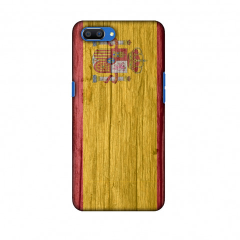 Spain Flag - Wood Textures Slim Hard Shell Case For Oppo Realme C1