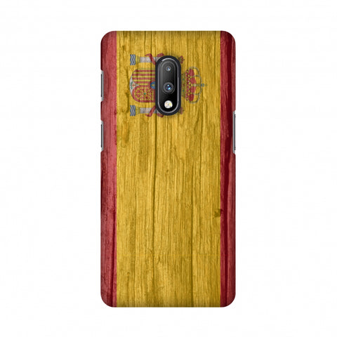 Spain flag- Wood textures Slim Hard Shell Case For OnePlus 7