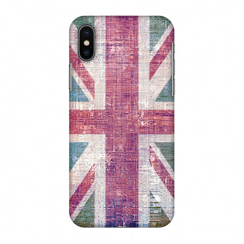 Uk Flag - Wood Texture Slim Hard Shell Case For Apple iPhone X