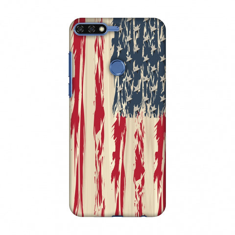 Usa Flag - Paint Splashes Slim Hard Shell Case For Huawei Honor 7C