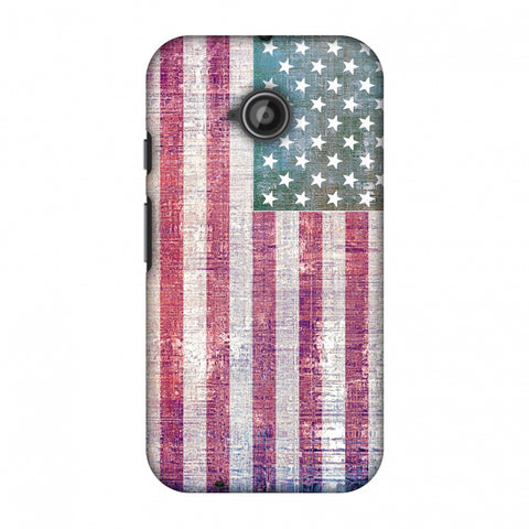 Usa Flag - Wood Texture Slim Hard Shell Case For Motorola Moto E 2nd Gen