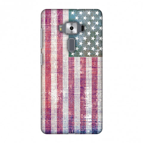 Usa Flag - Wood Texture Slim Hard Shell Case For Asus Zenfone 3 Deluxe ZS570KL