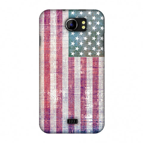 Usa Flag - Wood Texture Slim Hard Shell Case For Micromax Canvas 2 A110