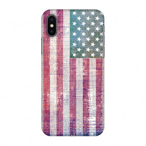 Usa Flag - Wood Texture Slim Hard Shell Case For Apple iPhone X