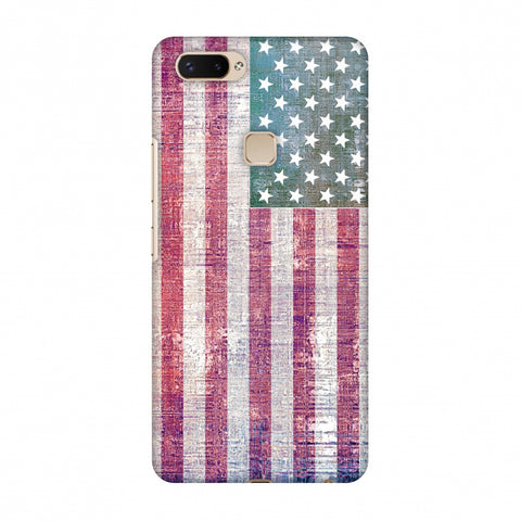 Usa Flag - Wood Texture Slim Hard Shell Case For Vivo X20 Plus