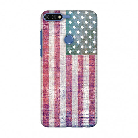 Usa Flag - Wood Texture Slim Hard Shell Case For Huawei Honor 7C