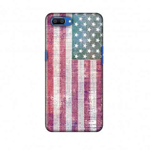 Usa Flag - Wood Texture Slim Hard Shell Case For Oppo Realme C1
