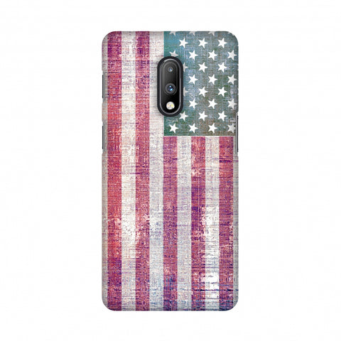 USA flag- Wood texture Slim Hard Shell Case For OnePlus 7