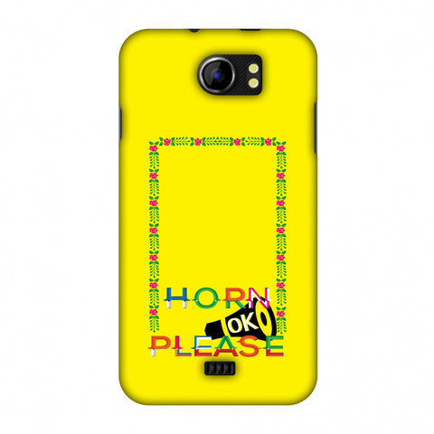 Horn Ok Please Loudspeaker - Yellow Slim Hard Shell Case For Micromax Canvas 2 A110