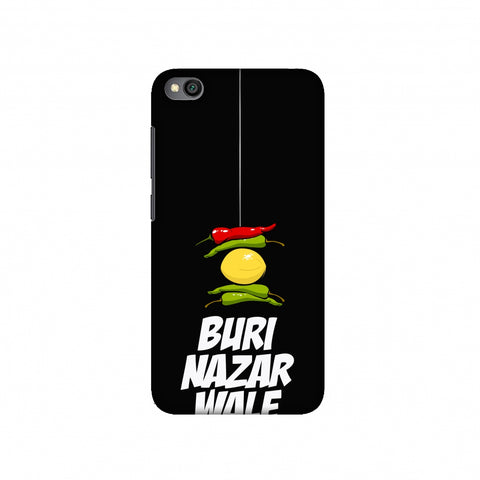 Buri Nazar Wale- Nimbu Mirchi- Black Slim Hard Shell Case For Redmi Go