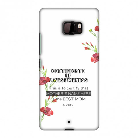 Certificate Of Awesomeness - White Slim Hard Shell Case For HTC U Ultra