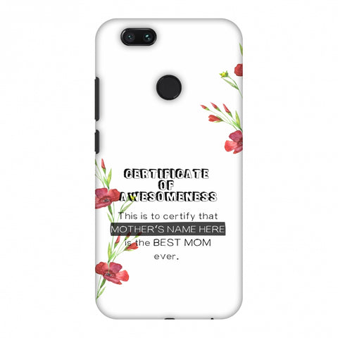 Certificate Of Awesomeness - White Slim Hard Shell Case For Xiaomi MI A1-5X