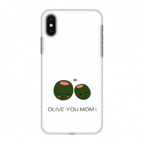 Olive You Mom - Beige Slim Hard Shell Case For Apple iPhone X