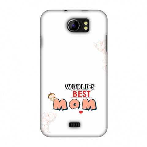 World's Best Mom - Beige Slim Hard Shell Case For Micromax Canvas 2 A110