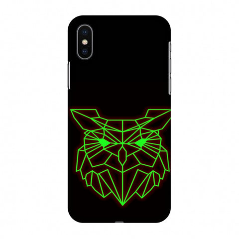Owl - Neon Green Slim Hard Shell Case For Apple iPhone X