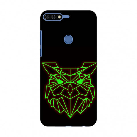 Owl - Neon Green Slim Hard Shell Case For Huawei Honor 7C