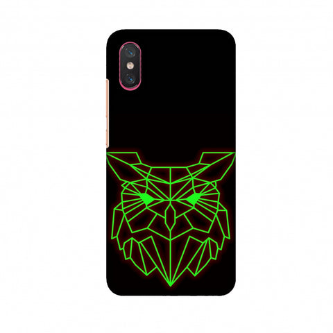 Owl - Neon Green Slim Hard Shell Case For Xiaomi Mi 8 Pro