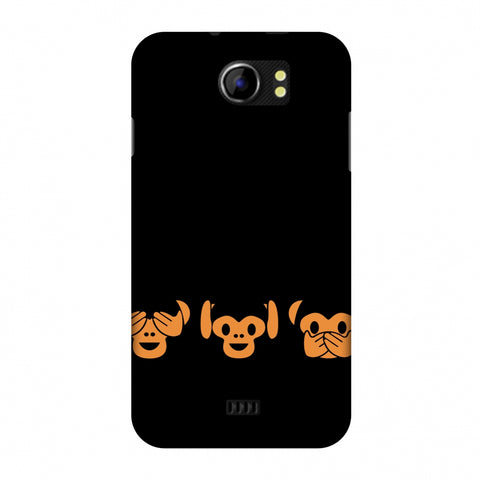 The Three Wise Monkeys - Black Slim Hard Shell Case For Micromax Canvas 2 A110