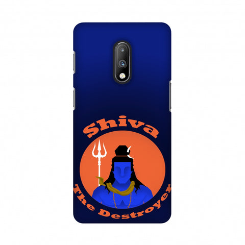 Shiva - The Destroyer - Blue Slim Hard Shell Case For OnePlus 7