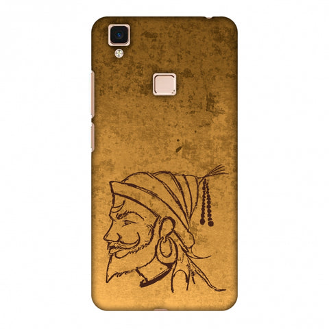 Shivaji Portrait - SAnd Yellow Slim Hard Shell Case For Vivo V3 Max