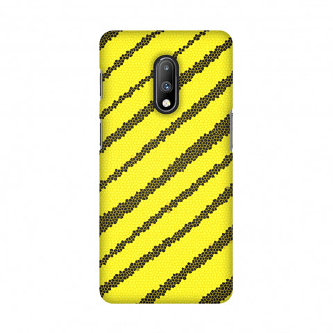 Bees - Stained Glass Diagonal Stripes Slim Hard Shell Case For OnePlus 7