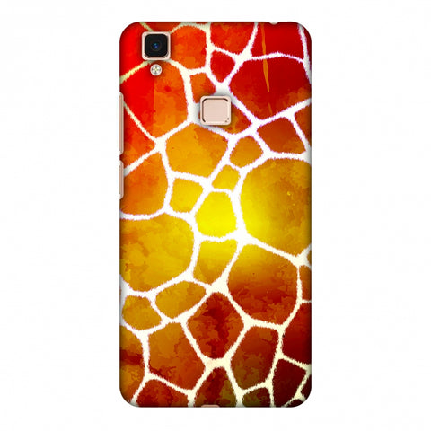 Giraffe - White Brushed Scales With Organic Burnt Watercolour Slim Hard Shell Case For Vivo V3 Max