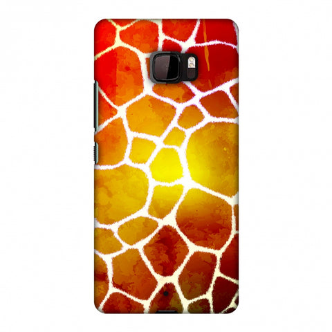 Giraffe - White Brushed Scales With Organic Burnt Watercolour Slim Hard Shell Case For HTC U Ultra