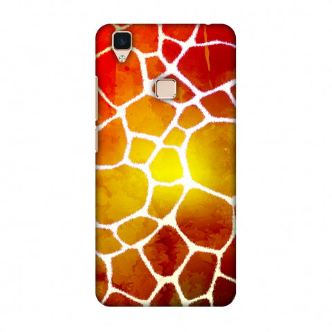 Giraffe - White Brushed Scales With Organic Burnt Watercolour Slim Hard Shell Case For Vivo V3