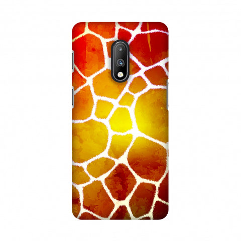 Giraffe - White Brushed Scales With Organic Burnt Watercolour Slim Hard Shell Case For OnePlus 7