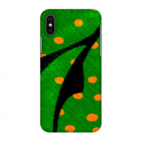 Lady Bug - Mustard Dots On Butterfly Fibre Wing Slim Hard Shell Case For Apple iPhone X