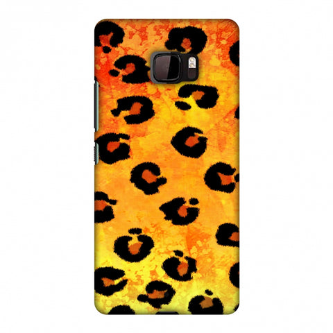 Leopard - Brushed Spots - Yellow Grunge Slim Hard Shell Case For HTC U Ultra