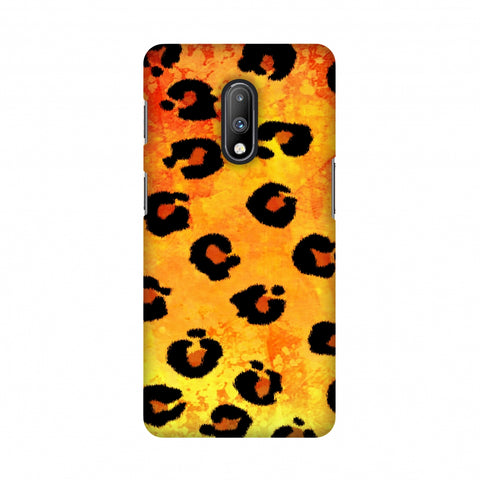 Leopard - Brushed Spots - Yellow Grunge Slim Hard Shell Case For OnePlus 7