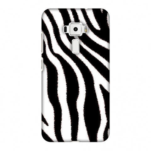Zebra - Black And White Brushed Stripes Hair Effect Slim Hard Shell Case For Asus Zenfone 3 ZE520KL