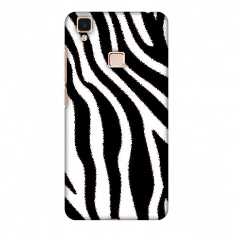 Zebra - Black And White Brushed Stripes Hair Effect Slim Hard Shell Case For Vivo V3 Max