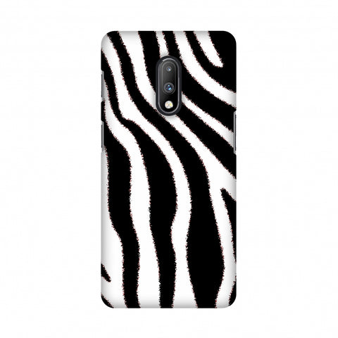 Zebra - Black And White Brushed Stripes Hair Effect Slim Hard Shell Case For OnePlus 7