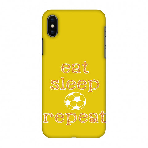 Football - Eat Sleep Football Repeat - Yellow Slim Hard Shell Case For Apple iPhone X