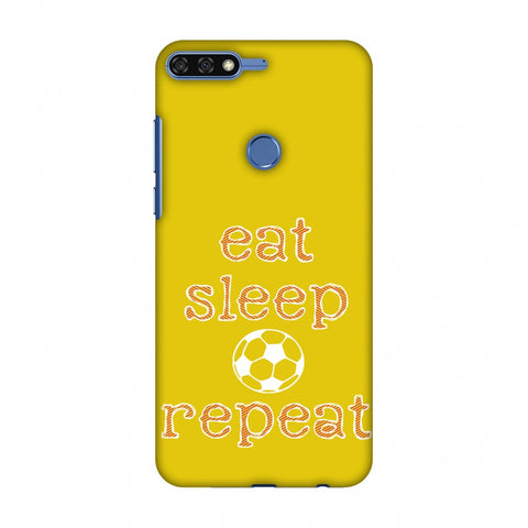 Football - Eat Sleep Football Repeat - Yellow Slim Hard Shell Case For Huawei Honor 7C