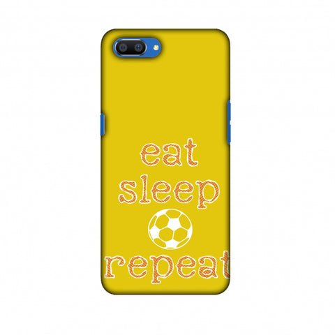 Football - Eat Sleep Football Repeat - Yellow Slim Hard Shell Case For Oppo Realme C1