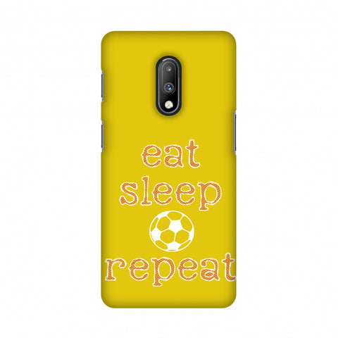 Soccer - Eat Sleep Soccer Repeat - Yellow Slim Hard Shell Case For OnePlus 7
