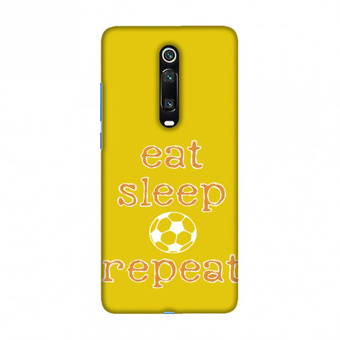 Football - Eat Sleep Football Repeat - Yellow Slim Hard Shell Case For Redmi K20/K20 Pro